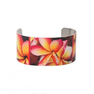 Photo cuff bracelet, aluminum, Fab Frangipani, fine art for wrist, HueDew