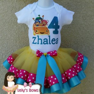 Personalized Team Umizoomi  ribbon trimmed tutu set , Team Umizoomi tutu, ribbon trim tutu, custom tutu, birthday outfit, Team Umizoomi