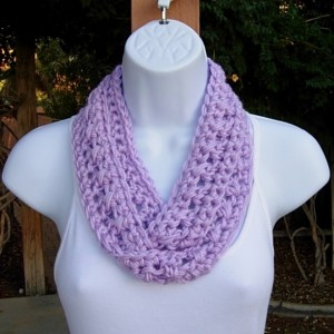 Light Lilac Solid Purple Small Skinny SUMMER INFINITY SCARF, Women's Petite Cowl, Soft Lightweight Crochet Knit Circle Ready to Ship in 3 Days