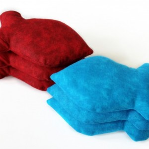 Blue and Red Goldfish Shaped Bean Bags  (set of 6) Crimson Turquoise Child's Toy Homeschool Party Favor (US Shipping Included)