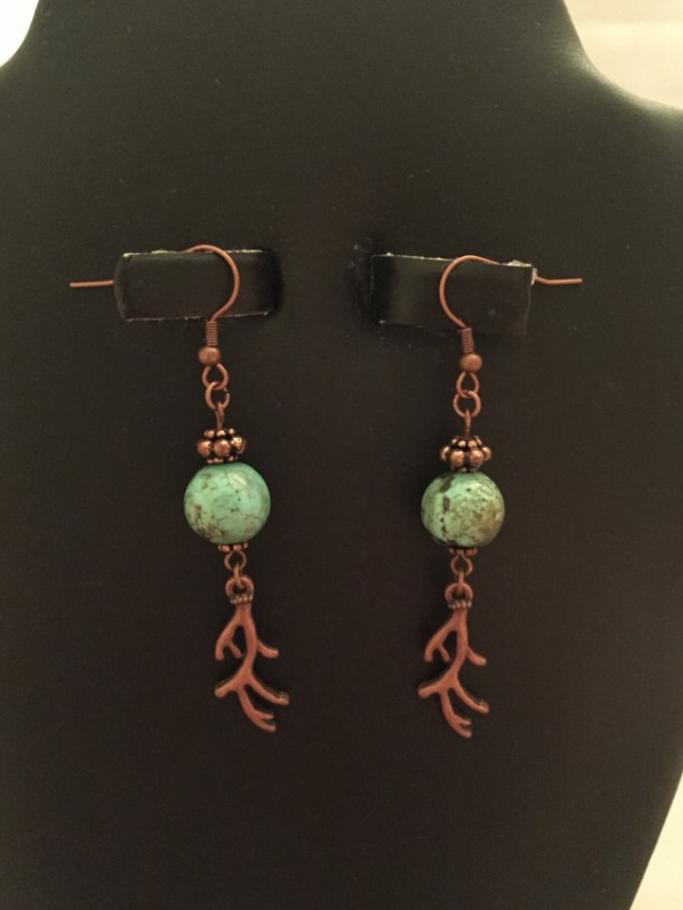 Copper and Stabilized Turquoise with Antlers Dangle Earrings