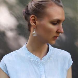 Blown Glass Necklace - Transparent - Lightweight