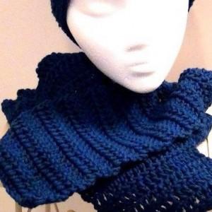 Scarf - Crocheted Scarf - Rich Blue Peacock - Denim Blue Winter Accessory