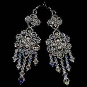 Preciosa crystal beaded bridal chandelier earrings. crystal beaded earrings. crystal beaded wedding chandelier earrings. pearl earrings