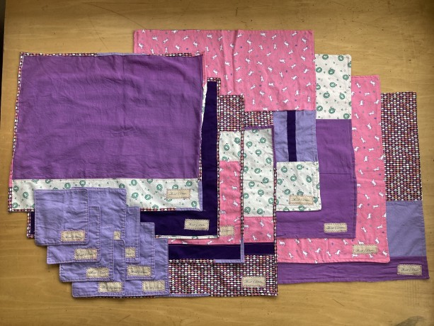 4 Setting Napkin Set - White, Pink, Purple