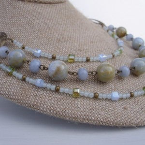 Triple Strand Chalcedony Necklace