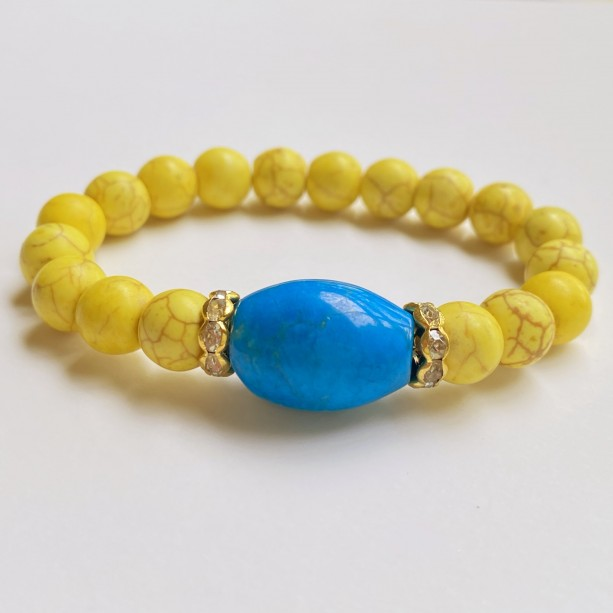Yellow and Blue Stone Bracelet