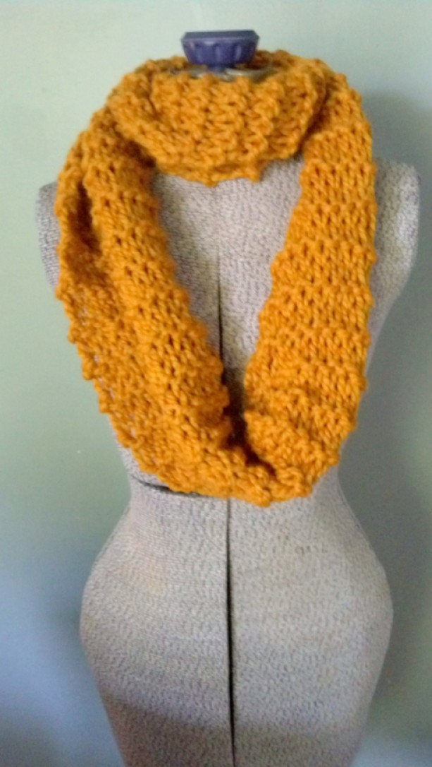 Mustard Chunky Knit Infinity Scarf Hand Knit Scarf Chunky Chunk
