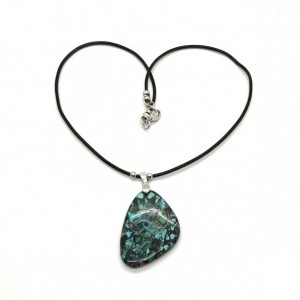 Boho Turquoise (Composite) Pendant with Black Leather Cord