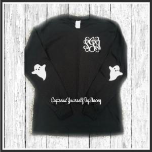 Monogram Halloween Shirt, Ghost Glitter Elbow Patches, Halloween Shirt, Fall Shirt