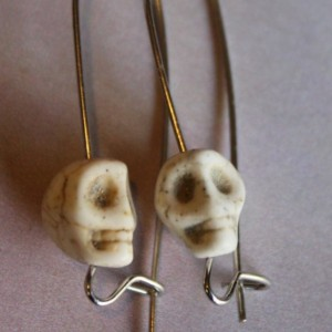 Skull Resin Bead Silver Toned Elongated 1 and half Inch Earrings