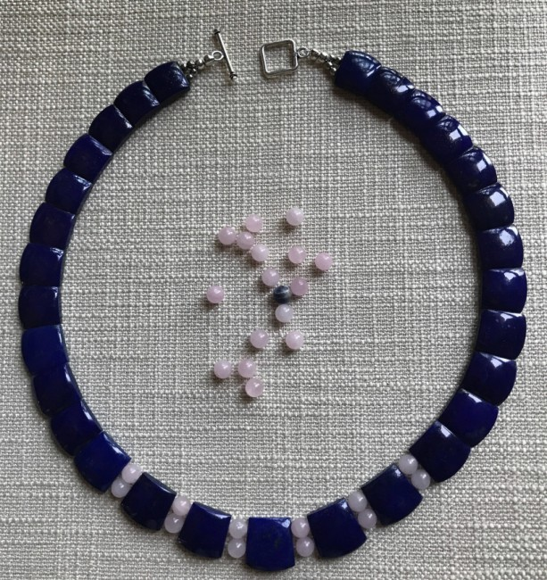 Natural Deep Blue Lapis Lazuli Square Shaped, Rose Quartz Necklace