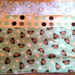 Burp Cloths in Gender Neutral Colors, Baby Shower Gift,  Baby Gift,  Yellow and Green Monkeys, Burp Rags, Spit Rags