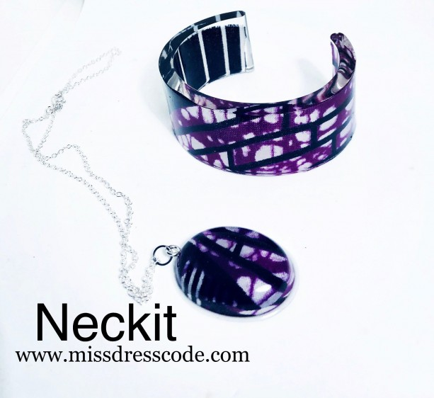Purple Themed Ankara Print Fabric in Resin Jewelry Set