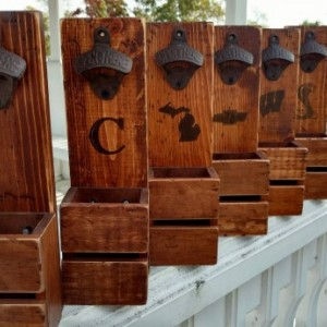 Groomsmen gift set of 6 Rustic Wall Mount Openers with removable cap catcher - Free personalization - Bottle opener - Man Cave - Beer Gifts