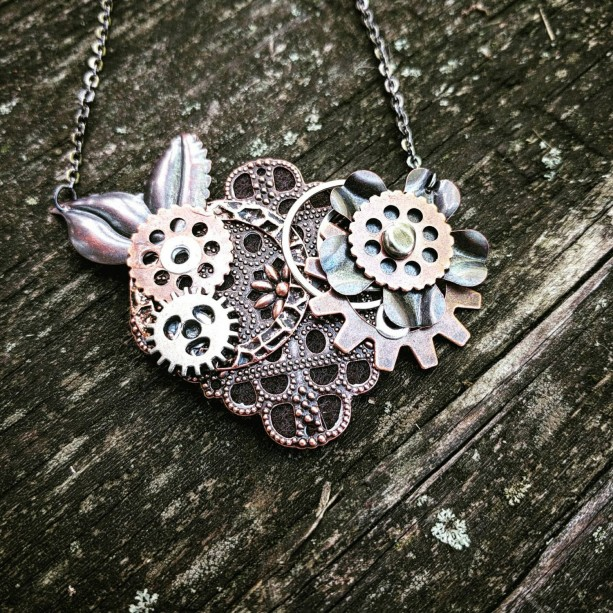 Steampunk Antiqued Copper Filigree Neo-Victorian Repurposed Handmade Ooak Collage Necklace