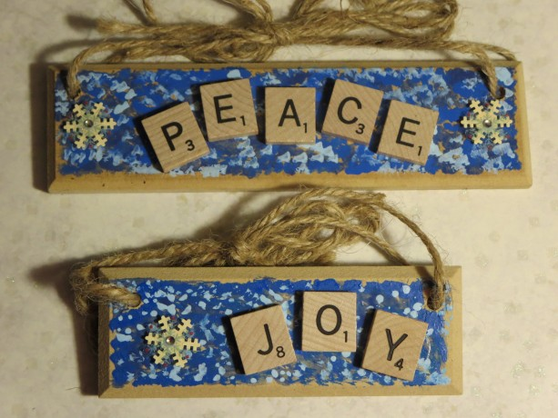 Set of 2 Scrabble® Game Tile Wooden Plaques Peace & Joy