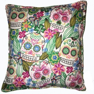 Day Of The Dead Pillow Skulls Pillow Cute Soft Flannel Pillow Kid Safe 100% Hypoallergenic Square Pillow Handmade