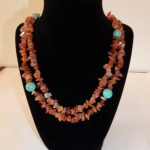 Gemstone chip and Turquoise  Swarovski pearl necklace
