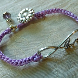 Purple silk Bracelet hand Crochet cord with Love charm connector and decorative silver tone button.  #B00219