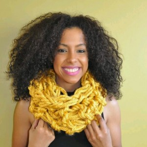 Yellow / Arm Knit / Handmade / Infinity / Chunky / Cowl / Hood / Snood /  Loop /  Scarf
