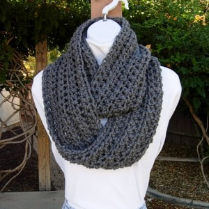Solid Gray INFINITY SCARF Loop Cowl, Women's Men's Charcoal Grey Extra Soft Crochet Knit Warm Winter Lightweight Eternity Wrap..Ready to Ship in 3 Days
