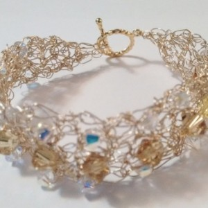 Gold Wire Crochet Crystal Bracelet, Crocheted Jewelry, One-of-a-kind Bracelet, Unique Bracelet, Mothers Day, On Sale, Present for Her, Mom