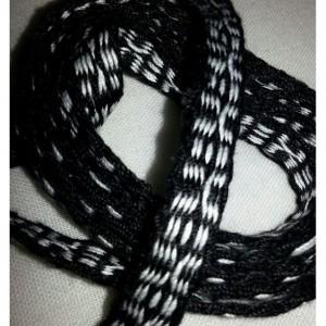 """Handwoven Inkle-Tribal- Handwoven- Inkle- belt- 1/2 """" x 68""""-100%cotton- black- white- inklebelt-inklesash- renassance-sca-woven- reanactment"""