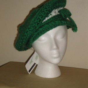 Stunning Green and white Crocheted Beret-