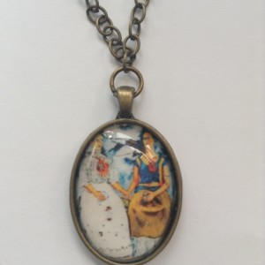 Frida Kahlo Pendant Necklace, Vintage Silver, Vintage Gold. Frida Kahlo Inspired Necklace. Pictures of Frida Kahlo.