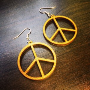 Wooden Peace Sign Dangle Earrings - FREE US SHIPPING