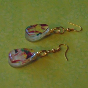 Reverse Teardrop Floral Dangle Drop White Pink Green Earrings