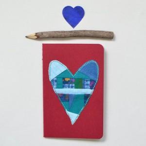 Patchwork heart notebook -- small red Moleskine journal