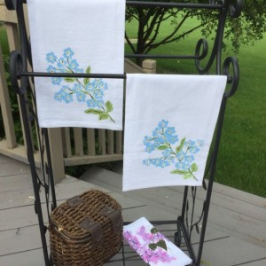 Floral towels, forget me not bathroom decor, flour sack dish towel, mom gift for her, kitchen towel handmade,  moms day from son, best sell