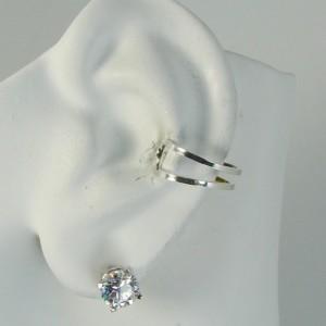 Ear Cuff Silver Non-pierced Cartilage Wrap Earring Fake Conch No Piercing Cuff Earring Simple Earcuff  Faux Pierced Double Square EDSQSS