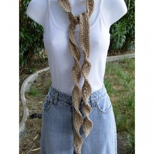 Light Khaki Brown Skinny SUMMER SCARF Small Soft 100% Cotton Spiral Knit Narrow Lightweight Solid Beige Crochet Necklace, Ready to Ship in 2 Days