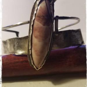 Brecciated Mookaite Garnet and Sterling Silver Bracelet