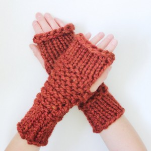 SALE - Wool Thick-Knit Fingerless Mittens in Spice - Chunky Fingerless Mittens - Ready to Ship