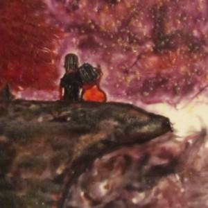 Under The Stars - Landscape Encaustic Modern Pop Wax Art Painting - Free Shipping - 12 x 12