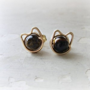 Brown Cat Stud Earrings, Gold Filled Studs, Pet Lover Gift, Kitty Stud Earrings, Tiger Eye Studs, Cat Jewelry, Kitty Cat, Cat Post Earrings