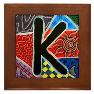 """Folk Art - Letter """"K"""" - FRAMED TILE By Artist A.V.Aposte"""
