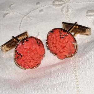 Vintage Carved Coral Floral Art Glass Cuff Links Cufflinks Mumms Marigolds