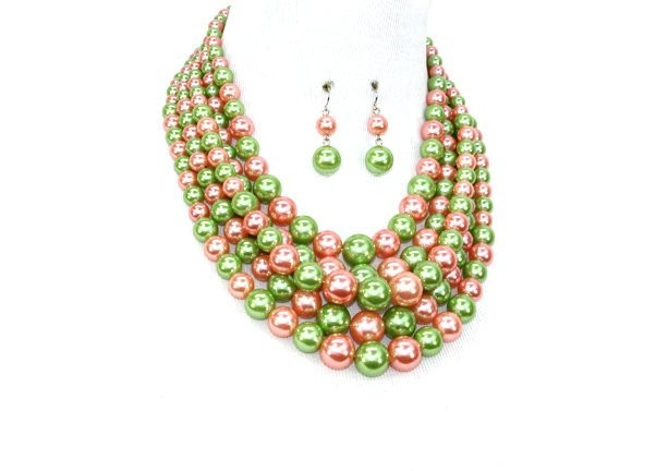 Pink and Green Pearl Alpha Kappa Alpha Inspired 5 strand Necklace Set