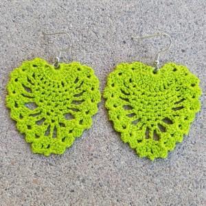 Crocheted Earrings Florecent Green