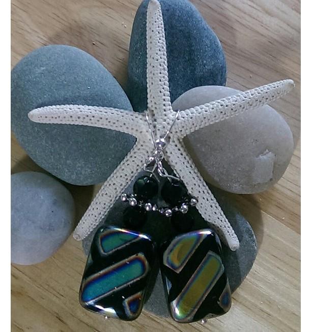 Metallic-striped Lampwork Earrings