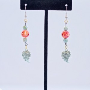Fall seasonal earrings/Nickel free/ Green Czech faceted beads and fall style glass beads and silver leaf charm/Under 20 dollars