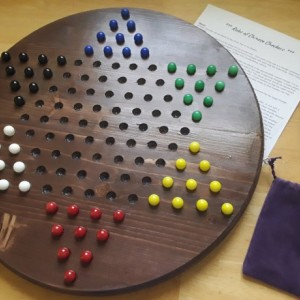 Chinese Checkers Handmade Wooden 18 in dia,