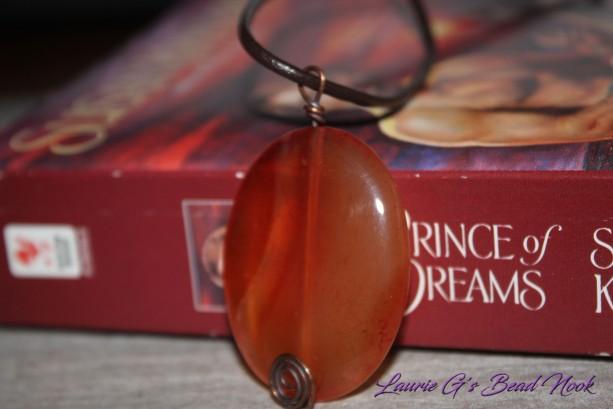 Carnelian pendant leather necklace