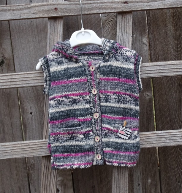 Hand Knitted Hoodie, Knit Vest for Toddlers, Hoodie for Toddler 12-18 monts, Wool Vest, All Handmade, Knitted Sleeveless Vest, Ready to Ship