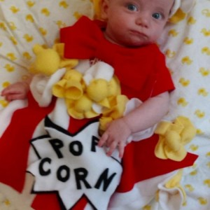 Popcorn costume for Halloween for baby